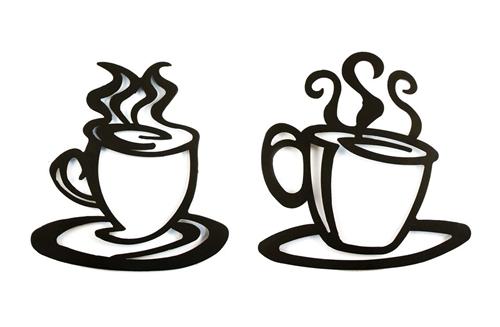 500x327 Pc Coffee Cup Silhouette Wall Art.