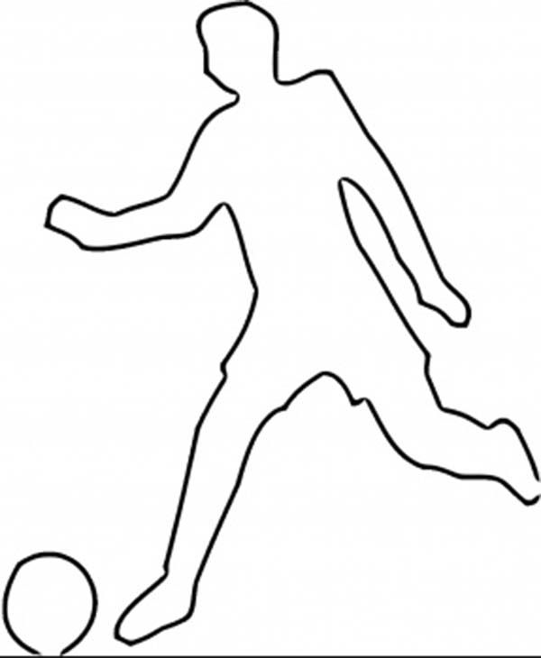 600x730 A Silhouette Of A Soccer Player Kicking The Ball Coloring Page