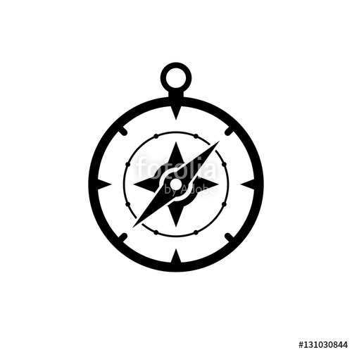 500x500 Compass Icon. Black Icon Isolated On White Background. Compass