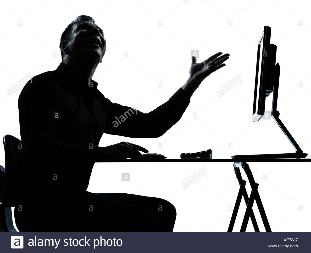 1300x1061 One Caucasian Business Man Computer Computing Happy Silhouette
