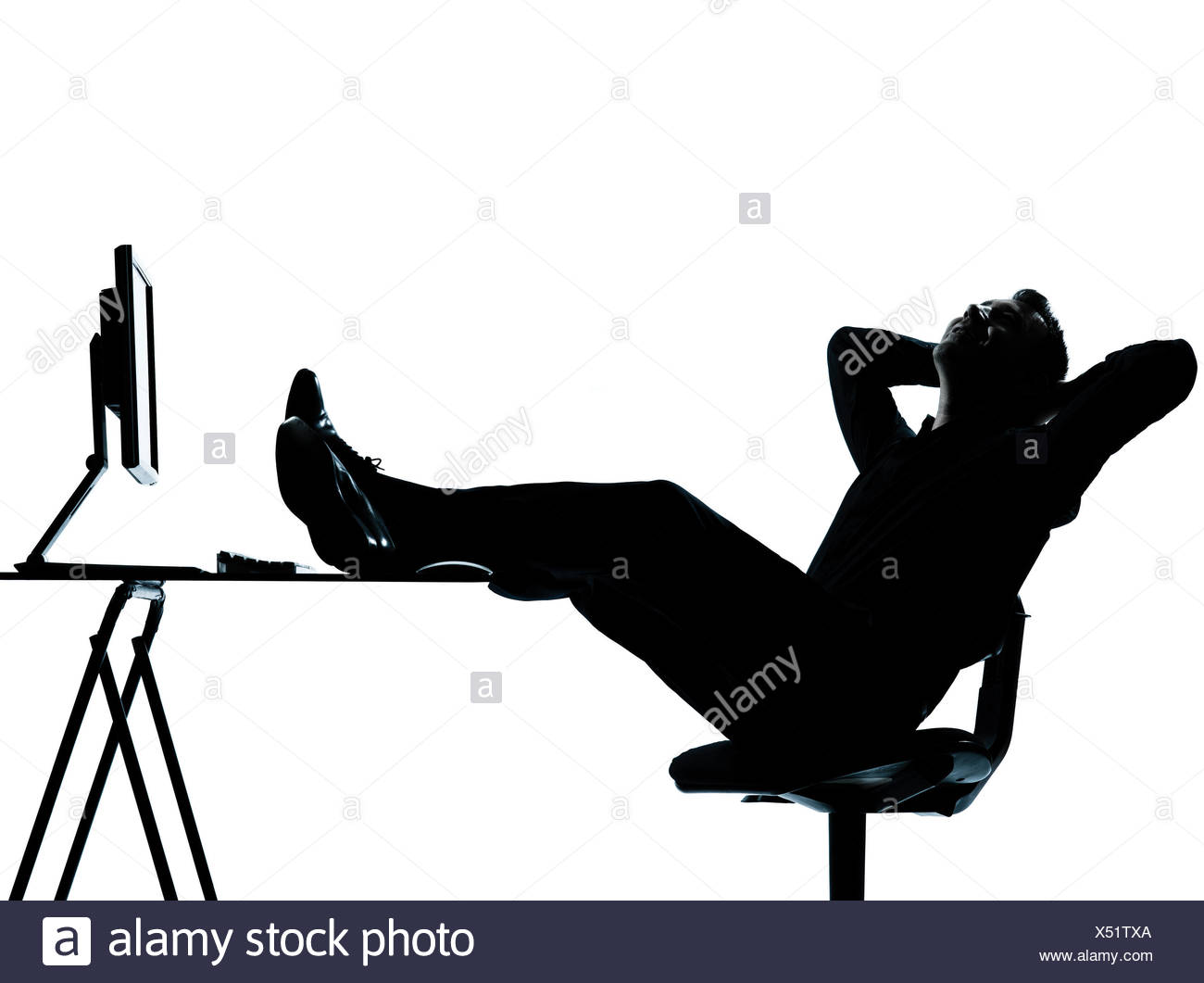 1300x1061 One Caucasian Business Man Computer Computing Relaxing Silhouette