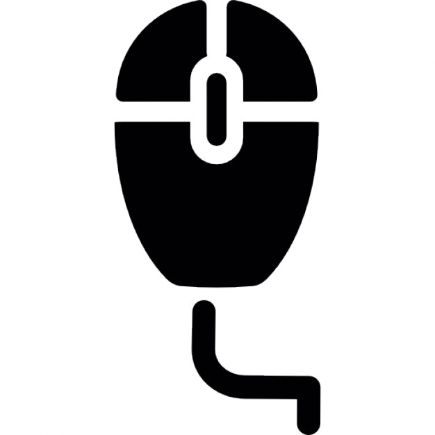 626x626 Computer Mouse With Wire Silhouette Icons Free Download
