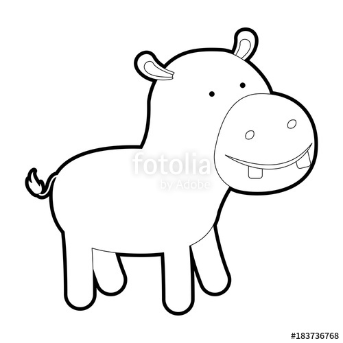 500x500 Hippopotamus Cartoon With Black Sections Silhouette And Thick