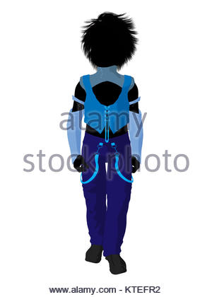 300x420 Punker Boy Illustration Silhouette On A White Background Stock