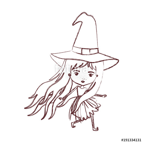 500x500 Cute Witch In Brown Blurred Silhouette Vector Illustration Stock