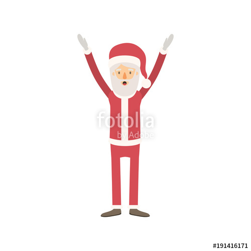500x500 Santa Claus Caricature Full Body With Hands Up Hat And Costume