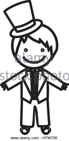 232x470 Sketch Silhouette Costume With Hat Groom Stock Vector Art