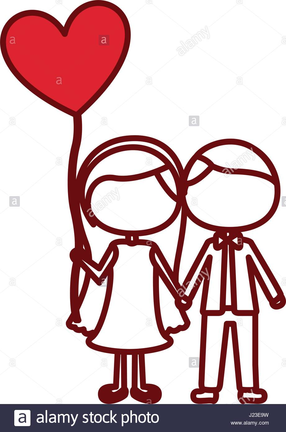 921x1390 Red Silhouette Of Caricature Faceless Couple And Him In Formal