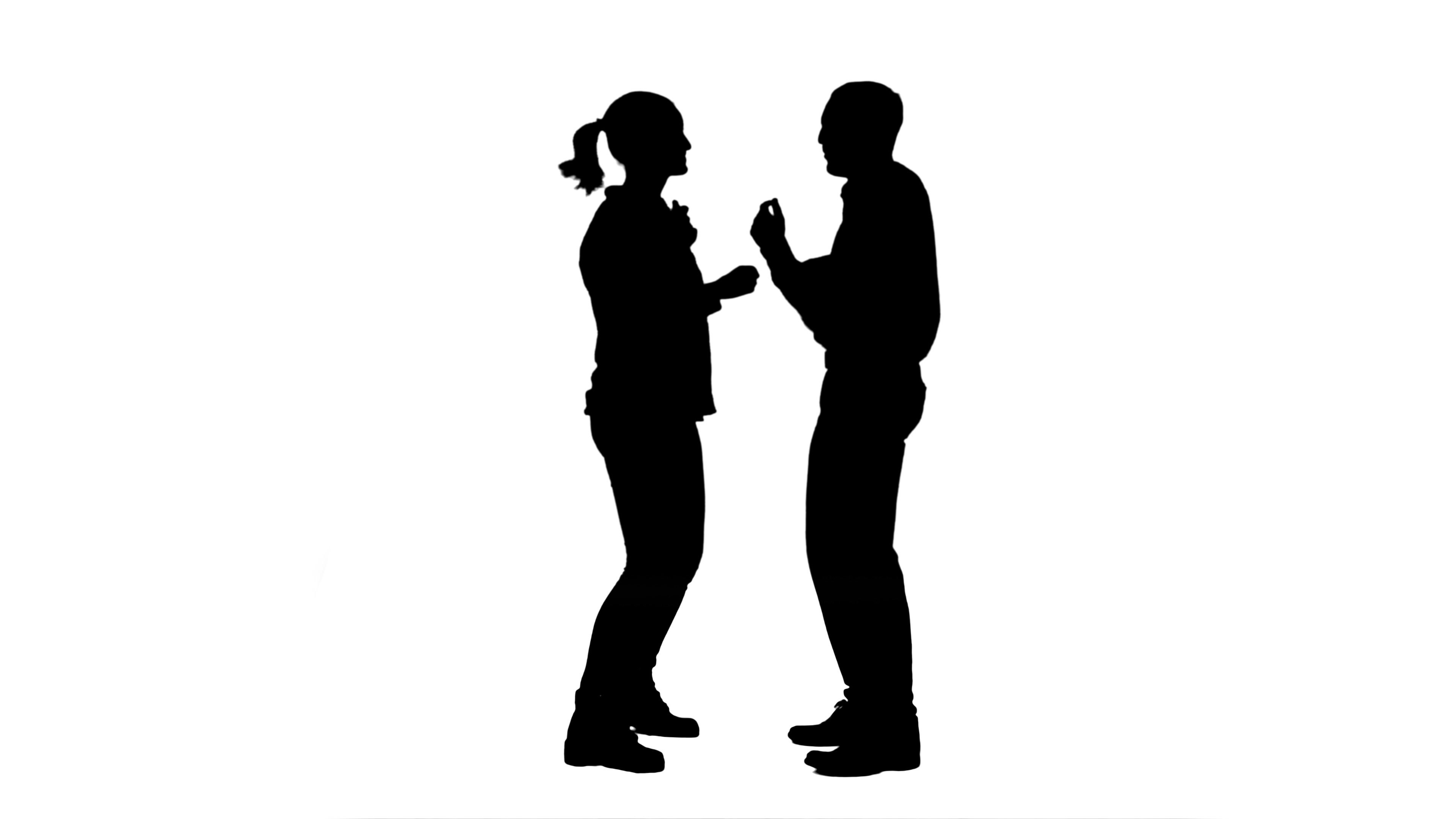 3840x2160 Silhouette Couple Of Lovers Stand, Talk, Laugh ~ Hi Res
