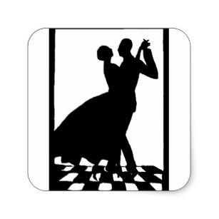 307x307 Couple Dancing Silhouette Stickers Zazzle