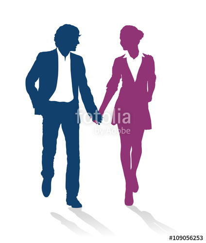 424x500 Detailed Silhouettes Of Teenagers Couple Walking Together Holding