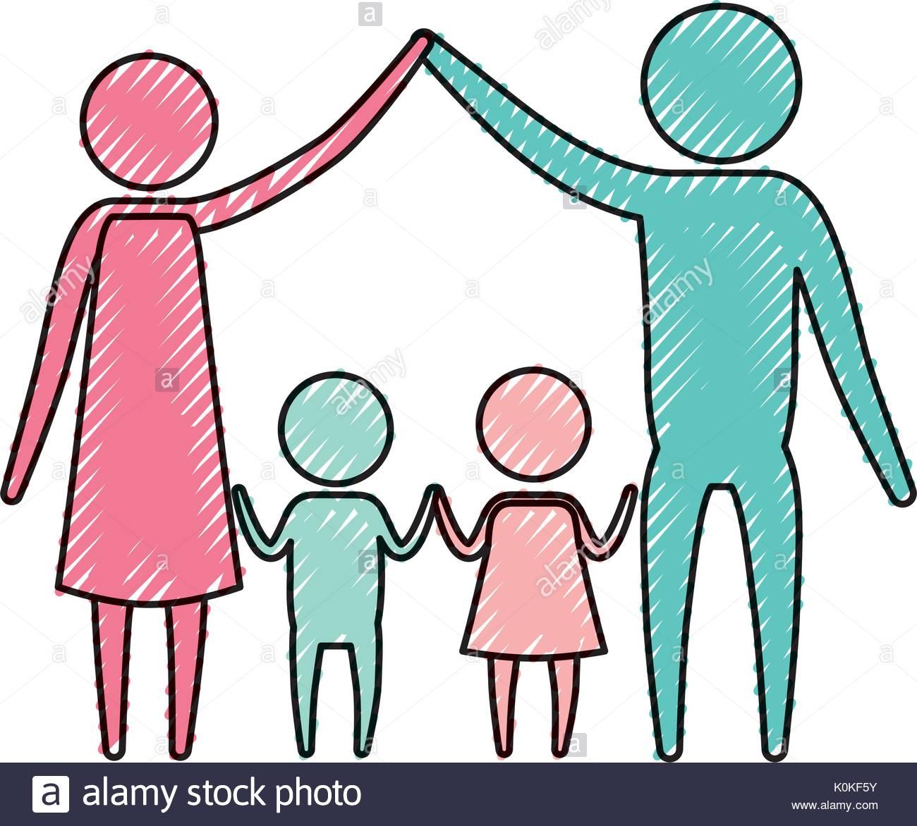1300x1172 Color Crayon Silhouette Pictogram Couple Parents Holding Hands Up