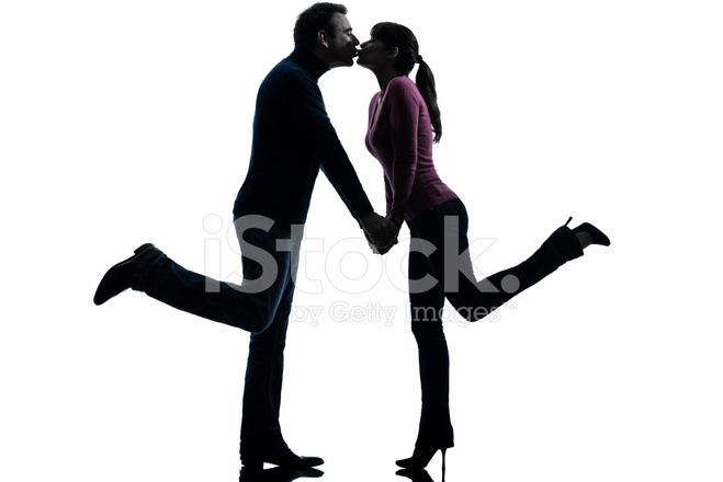 659x440 Couple Woman Man Lovers Kissing Silhouette Stock Photos