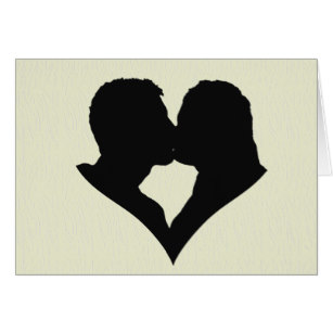 307x307 Heart Kissing Couple Silhouette Cards