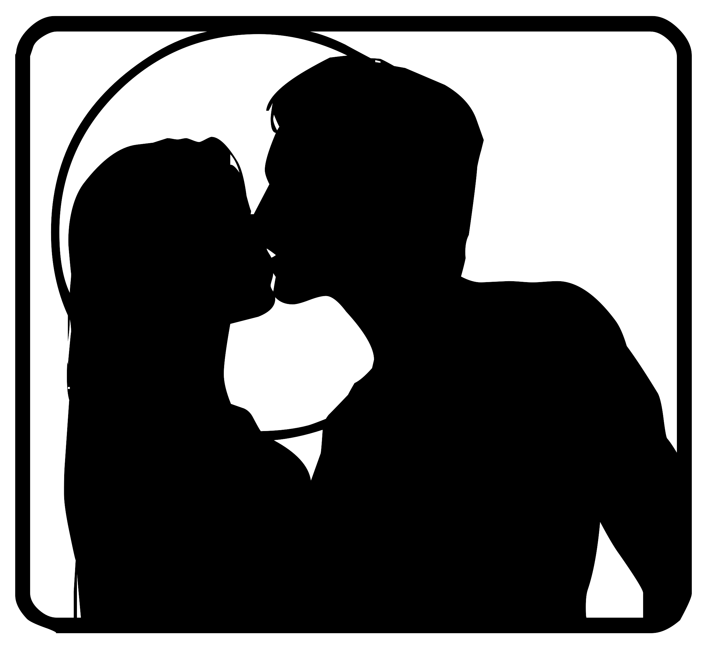 2325x2135 Black Silhouette Of Kissing Couple Free Image