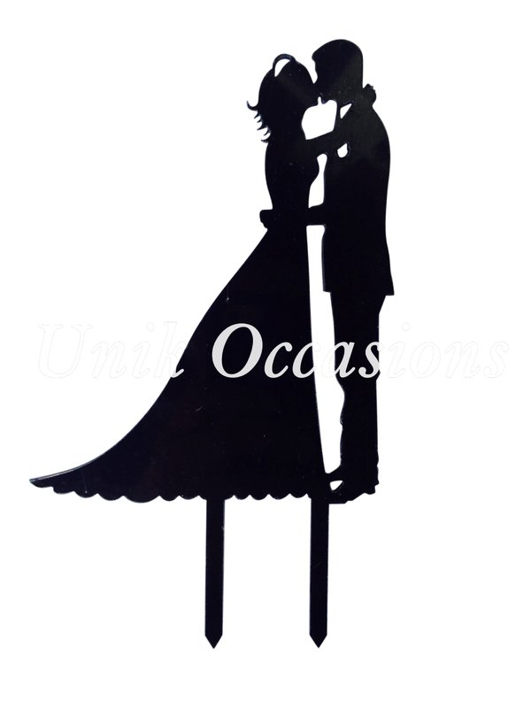 600x800 Unik Occasions Kissing Couple Silhouette Acrylic Cake Topper
