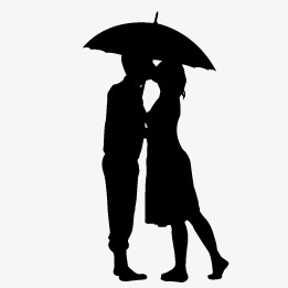 261x261 Couple Silhouette, Lovers, Sketch, Umbrella Png And Vector