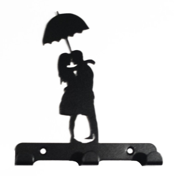 570x576 Couple Under Umbrella Silhouette Key Hook Rack Metal Wall