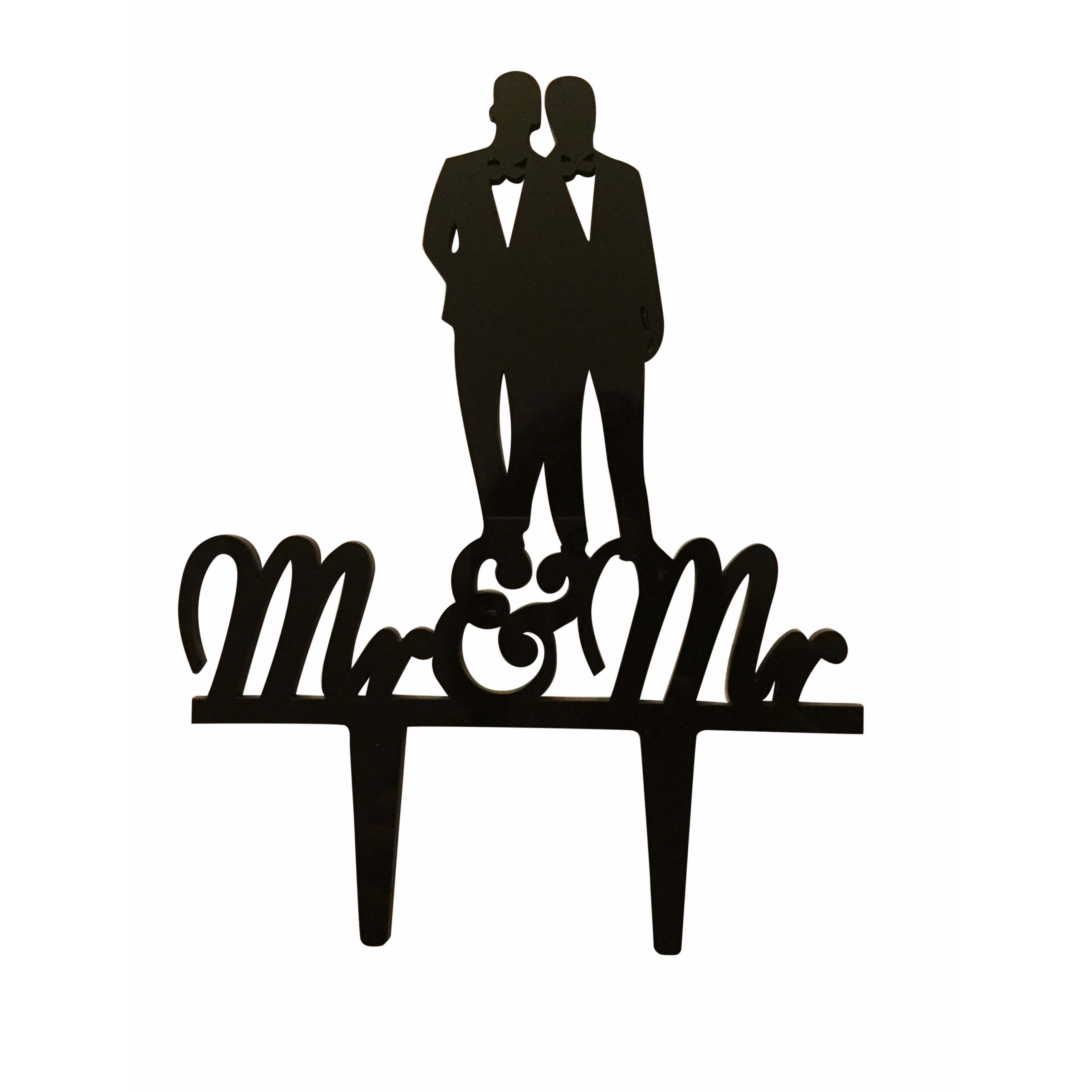 3500x3500 Mr. Amp Mr. Couple Silhouette Acrylic Wedding Cake Topper My