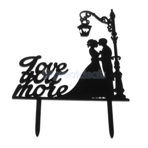 300x300 Couple Silhouette Bride Groom Love You More Wedding Cake Topper