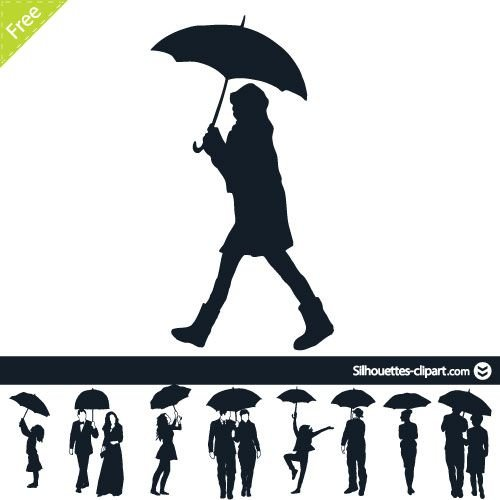 Silhouette Couple With Umbrella