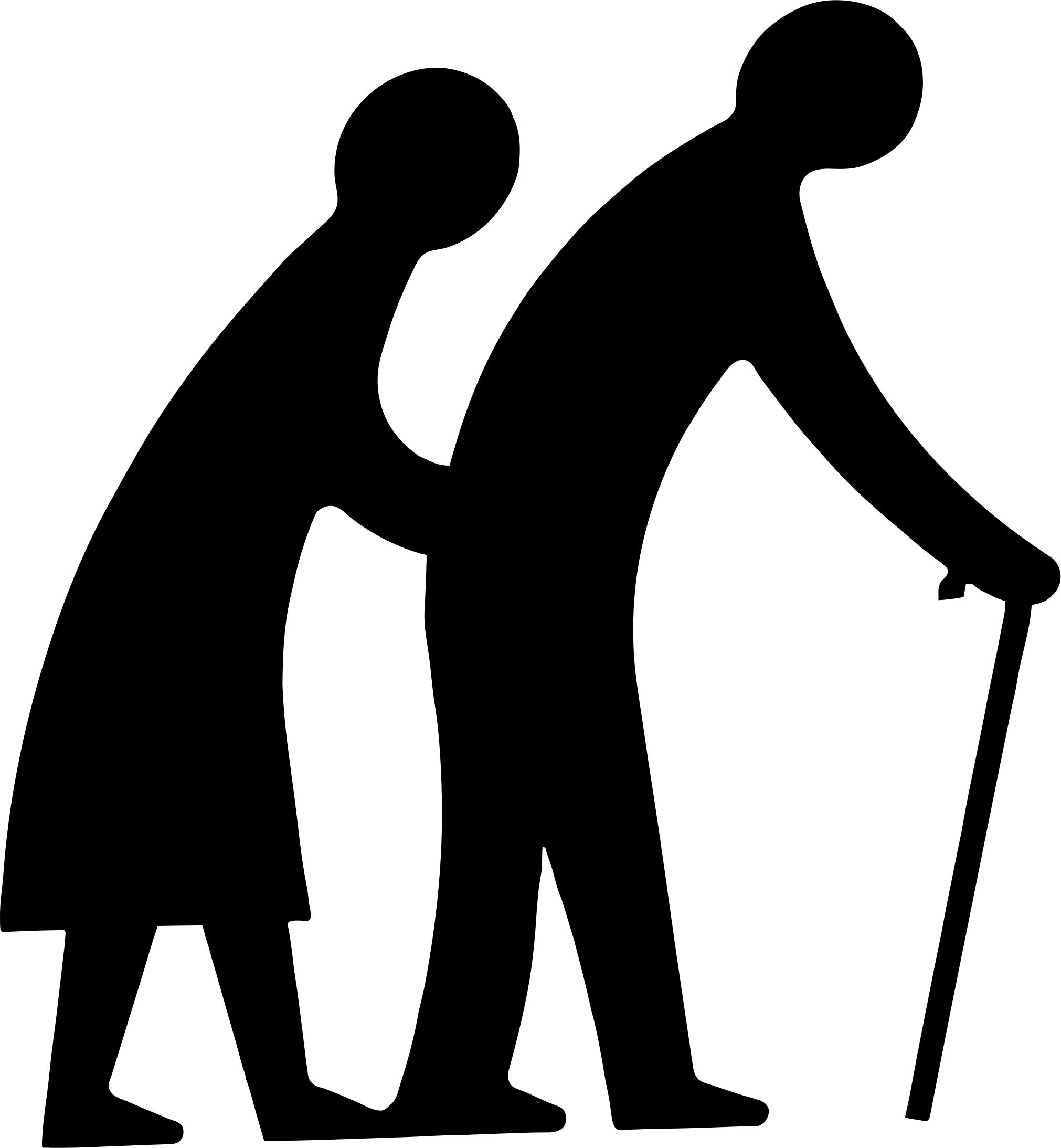 2022x2187 Old Couple Walking Silhouette Icons Png