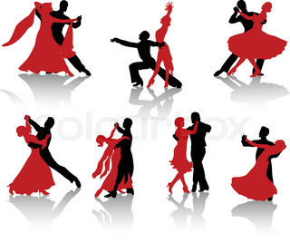 320x278 Silhouettes Of The Pairs Dancing Ballroom Dances. Tango. Stock