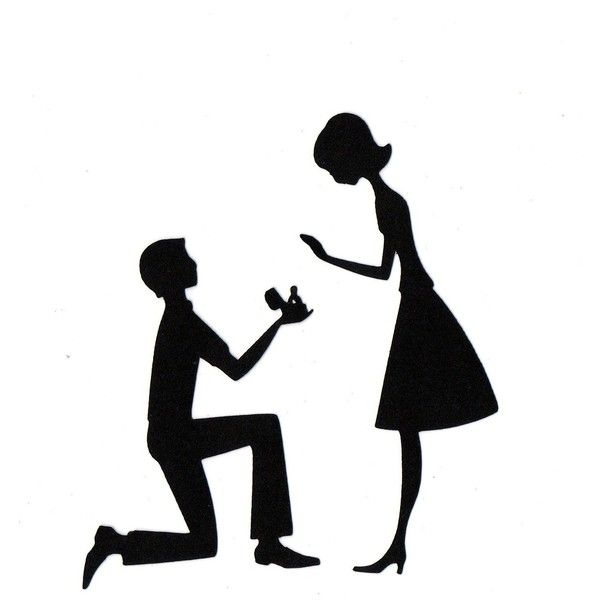 600x600 Engaged Couple In Love Wedding Silhouette Die Cut For Scrap