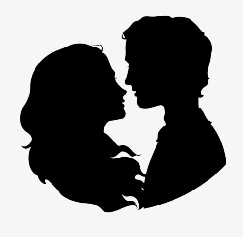 500x489 Couple Silhouette, Black Silhouette, Marry, Father's Day Png