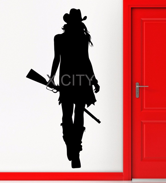 582x640 Cowgirl Texas Wild West Rifle Gun American Style Wall Art Sticker