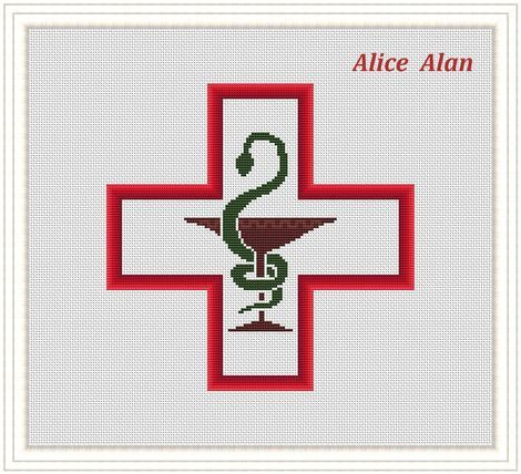 470x428 Cross Stitch Pattern Medical Symbol Red Cross Silhouette Cross