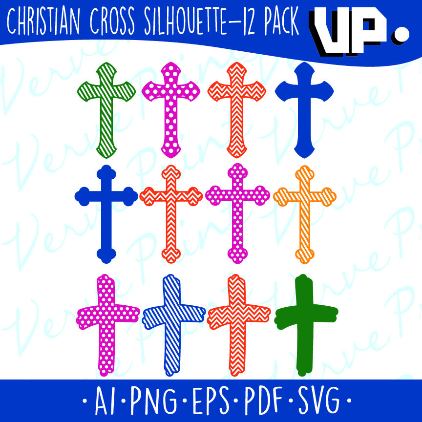 864x864 Christian Cross Silhouette Svg, Ai, Eps, Pdf Cutting File, Cross