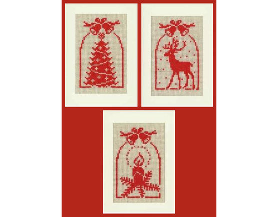 555x432 Christmas Silhouette Cross Stitch Card Kits (Set Of 3) Only