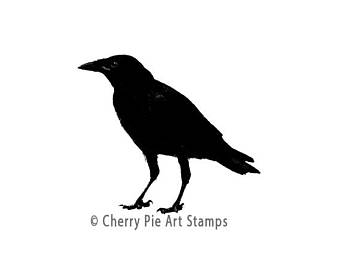 340x270 Crow Rubber Stamp Etsy