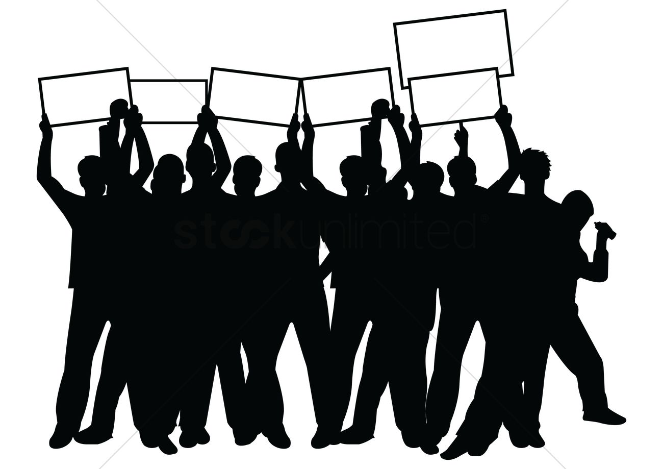 1300x919 Crowd With Placards Vector Image