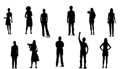 400x226 Dancing Crowd, Black Silhouette Over White Background. Can Be Used