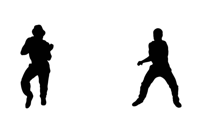 852x480 Two Male Hip Hop Dancing Silhouettes With Alpha Matte. More