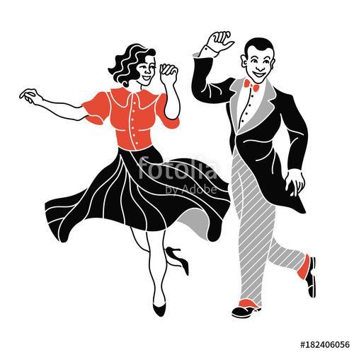 500x498 Retro Dance Couple Silhouette. Vintage Silhouette Dancer