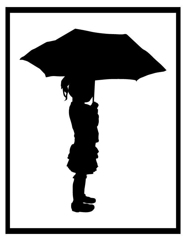 612x792 Girl With Umbrella Silhouette In Rain