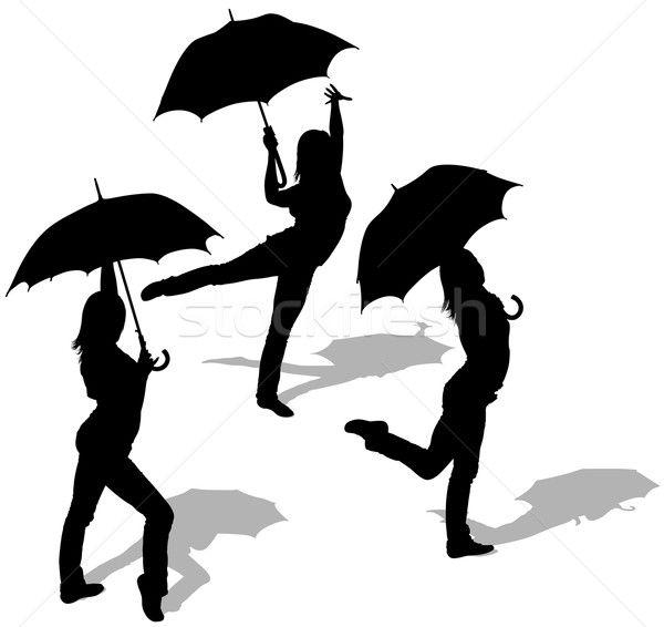 600x566 Silhouette Femme Parapluie
