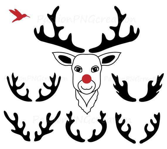 570x509 Digital Antler Clipart, Deer Clipart, Silhouette Antler, Deer Clip