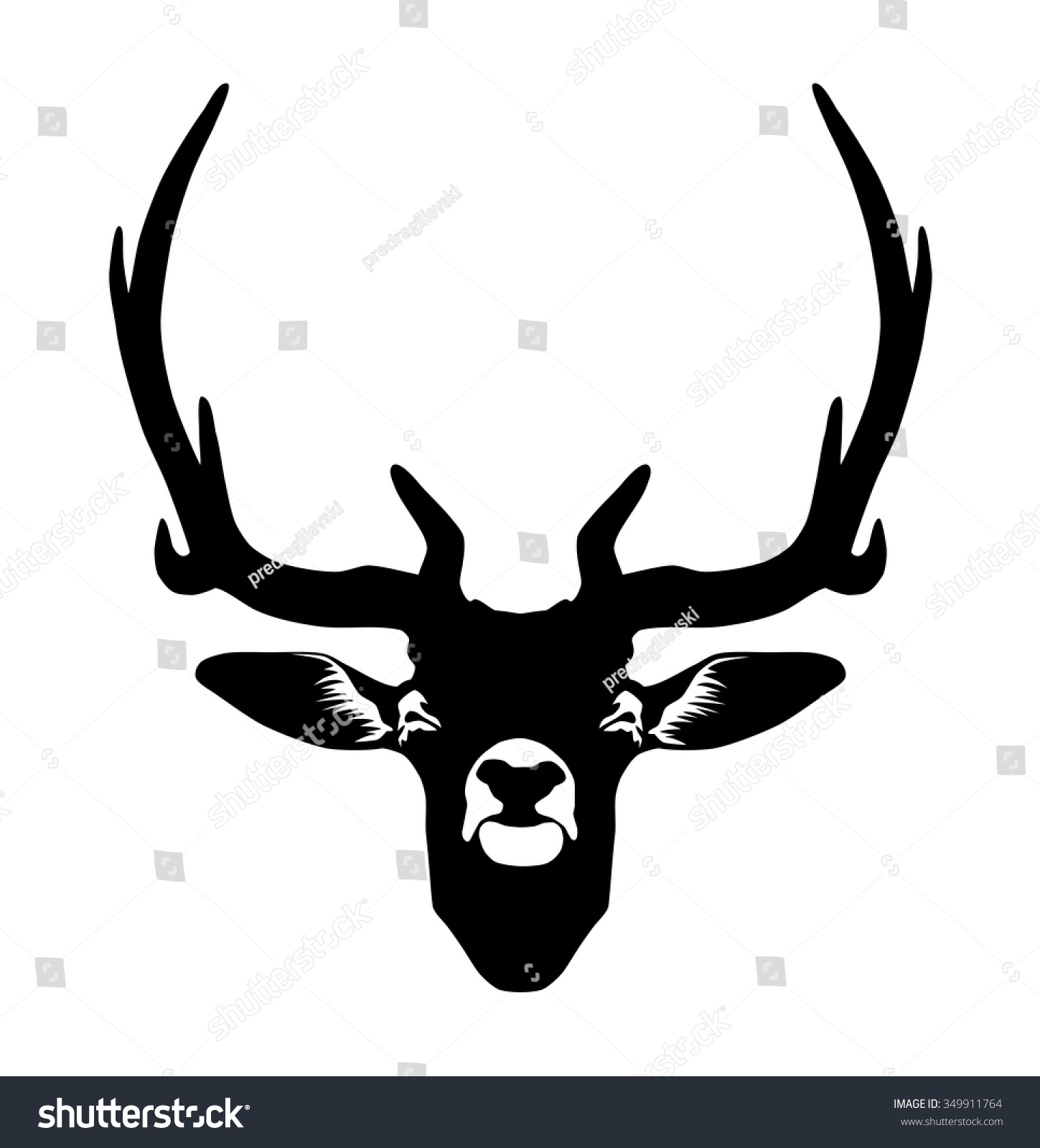 1449x1600 Deer Head Silhouette Free Download Clip Art On Bright Antlers