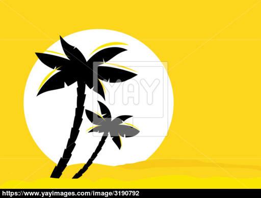 512x389 Yellow Desert Sunrise Background With Black Palm Tree Silhouette