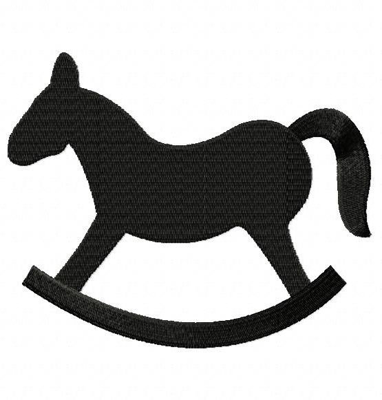555x581 Free Rocking Horse Silhouette Embroidery Design, Free Download