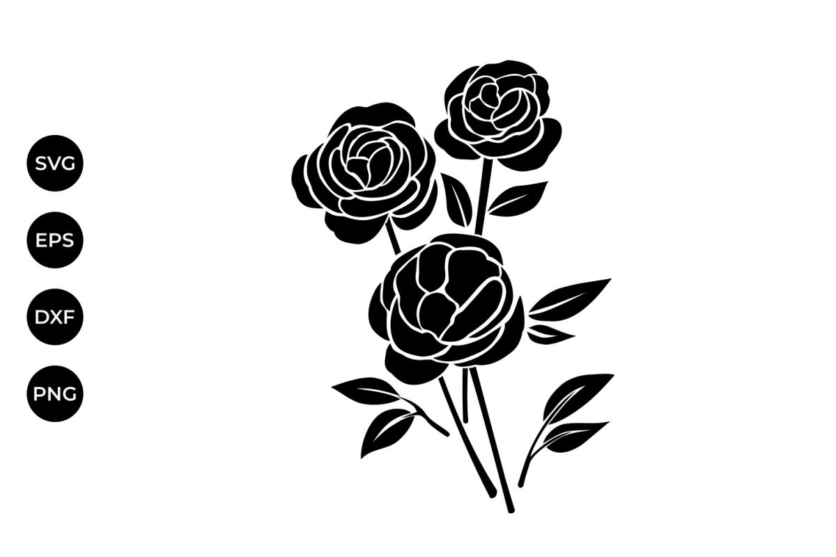 1200x800 Rose Flowers Silhouette Svg, Rose Flora Design Bundles