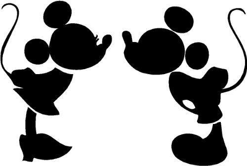 500x336 Mickey And Minnie Kissing Silhouette Cute Nursery Vinyl Wall