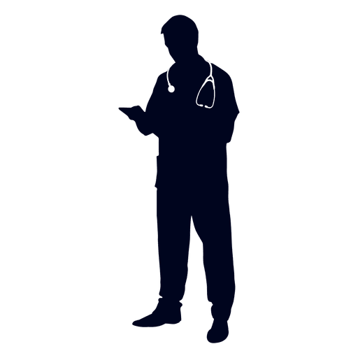 512x512 Doctor Reading File Silhouette
