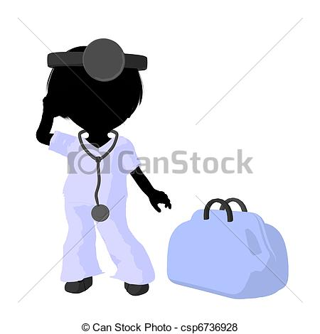 450x470 Little Doctor Girl Illustration Silhouette. Little Doctor Stock