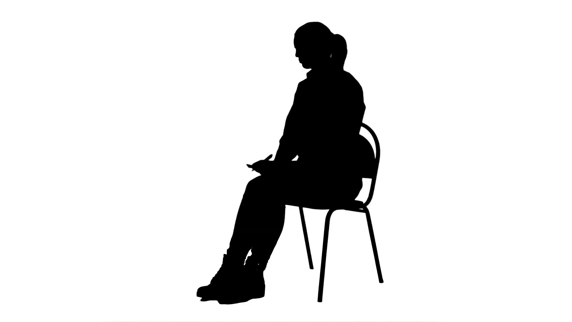 1920x1080 Silhouette Female Doctor Writing Recipe For A Patient Stock Video