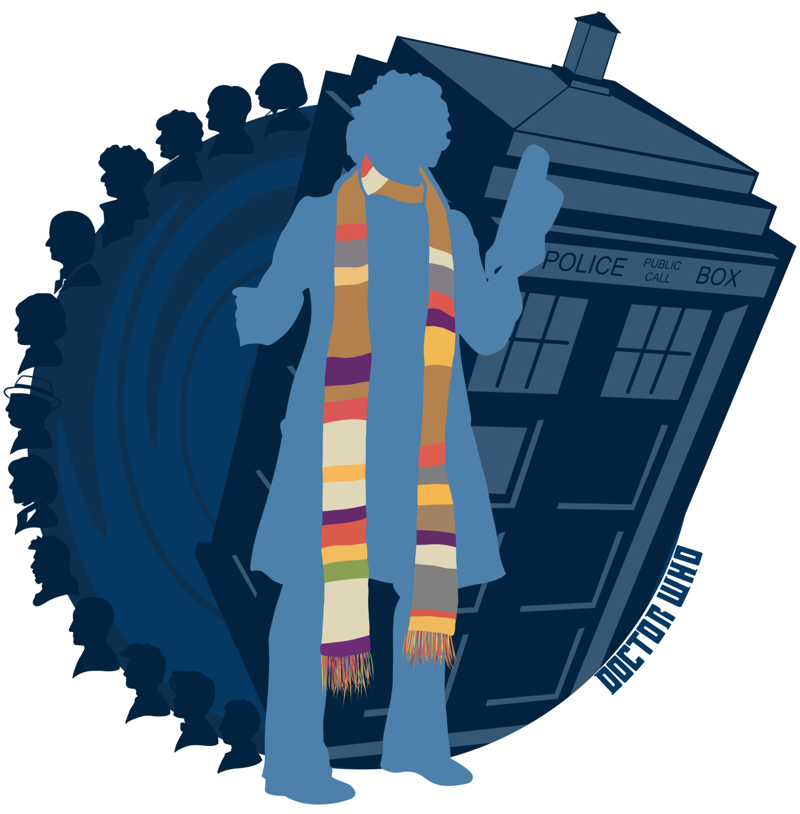 1600x1628 4th Doctor Who Silhouette By Davemilburn